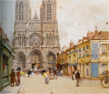 Paris Painting - La Cathedrale de Reims Eugene Galien Parisian
