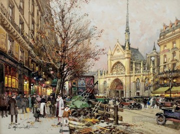 Late Afternoon Boulevard de Magenta Eugene Galien Parisian Oil Paintings