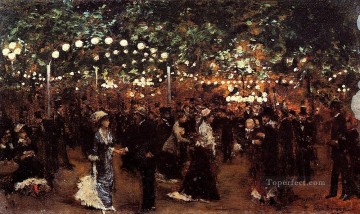 Paris Painting - Le Bal Mabile Paris scenes Jean Beraud