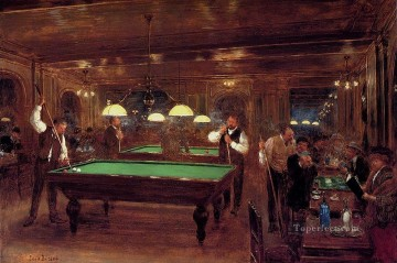 Paris Painting - Le Billard Paris scenes Jean Beraud