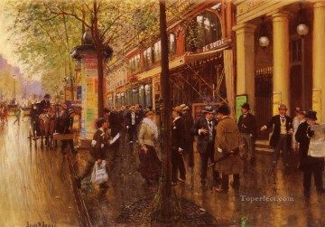 Paris Painting - Les Grands Boulevards Le Theature Des Varietes Paris scenes Jean Beraud
