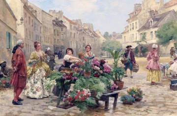 Louis Marie Schryver A Market During the XVIII century Parisian Oil Paintings