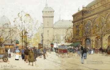 Place du Chatalet Eugene Galien Parisian Oil Paintings