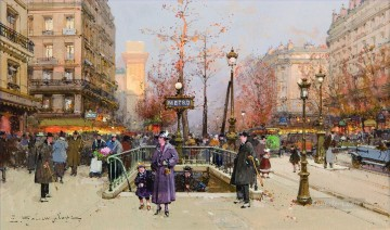 Porte Saint Martin Eugene Galien Parisian Oil Paintings