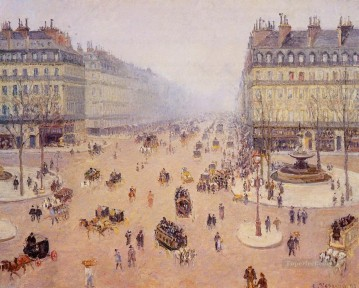 Parisian Works - avenue de l opera place du thretre francais misty weather 1898 Camille Pissarro Parisian