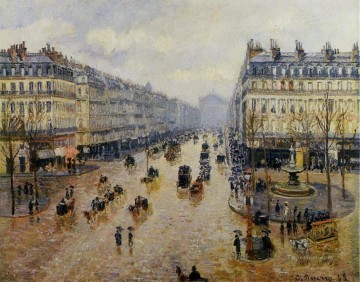 avenue de l opera rain effect 1898 Camille Pissarro Parisian Oil Paintings