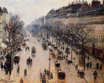 boulevard montmartre winter morning 1897 Camille Pissarro Parisian Oil Paintings