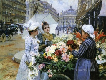 Paris Painting - louis marie de schryver the flower seller Parisienne