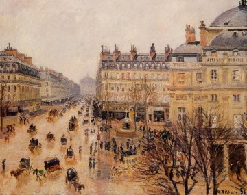 place du theatre francais rain effect Camille Pissarro Parisian Oil Paintings
