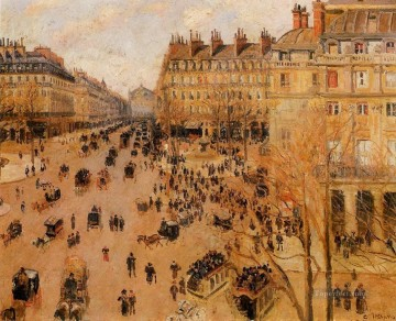 place du thretre francais sun effect 1898 Camille Pissarro Parisian Oil Paintings