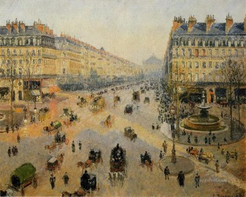 Paris Painting - the avenue de l opera paris sunlight winter morning Camille Pissarro