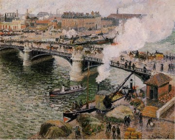 1896 Oil Painting - the pont boieldieu rouen damp weather 1896 Camille Pissarro Parisian