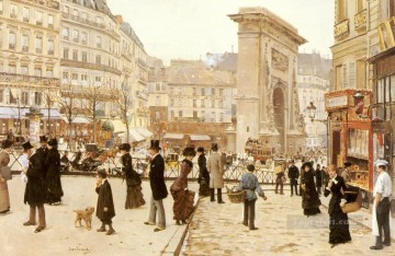 Le Boulevard St Denis Paris scenes Jean Beraud Oil Paintings