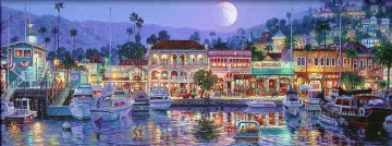 Artworks in 150 Subjects Painting - Avalon Bay dockscape cityscape boats street shops
