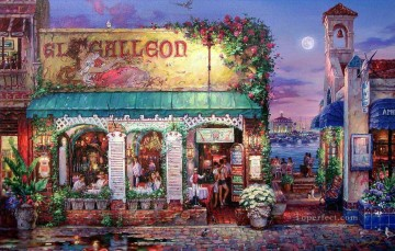 Artworks in 150 Subjects Painting - Cafe Bella shops cityscape street shops