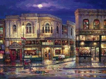 Artworks in 150 Subjects Painting - city of lights cityscape modern city scenes street shops