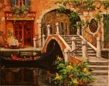 Venice Modern Painting - Across The Bridge Venice scenes