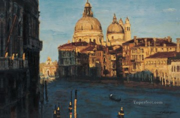 Venice Water Town Chinese Chen Yifei cityscape Oil Paintings