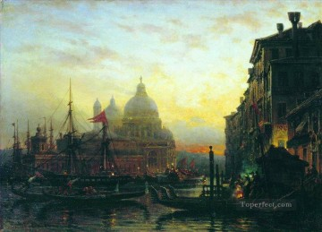 venice at night Alexey Bogolyubov cityscape city scenes Oil Paintings