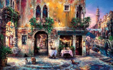 Evening in Venice cafe cityscape modern city scenes Oil Paintings