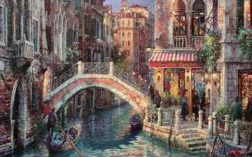 Venice canal Over the Bridge cityscape modern city scenes Oil Paintings