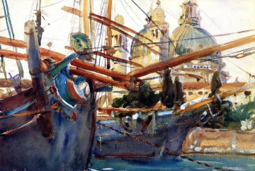 Dockscape Painting - Behind the Salute boat John Singer Sargent
