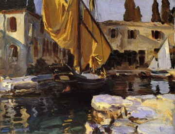 Dockscape Painting - Boat with The Golden Sail San Vigilio John Singer Sargent