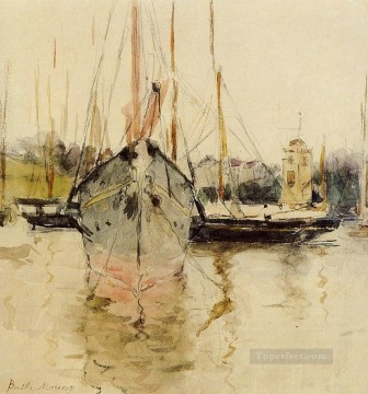 Dockscape Painting - Boats Entry to the Medina in the Isle of Wight Berthe Morisot
