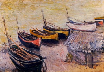 Dockscape Painting - Boats on the Beach Claude Monet