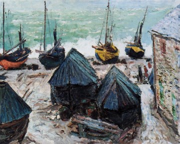 Dockscape Painting - Boats on the Beach Etretat Claude Monet