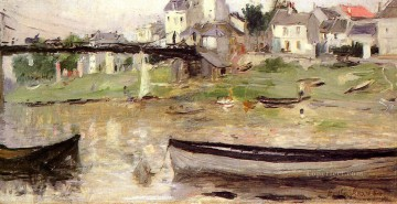 Dockscape Painting - Boats on the Seine impressionists painters Berthe Morisot