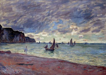 Dockscape Painting - Fishing Boats by the Beach and the Cliffs of Pourville Claude Monet