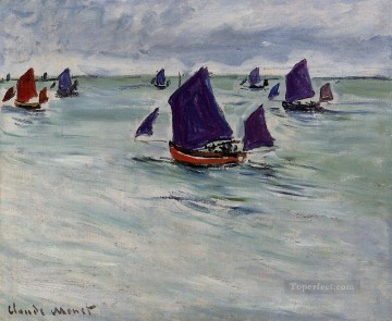 Dockscape Painting - Fishing Boats off Pourville Claude Monet