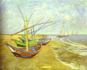 Dockscape Painting - Fishing Boats on the Beach Post Impressionism Vincent van Gogh