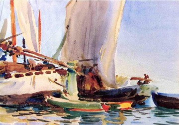 Dockscape Painting - Giudecca boat John Singer Sargent