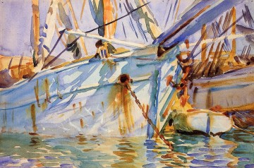 boat warship Painting - In a Levantine Port boat John Singer Sargent