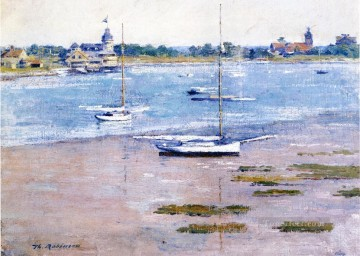 Dockscape Painting - Low Tide impressionism boat Theodore Robinson