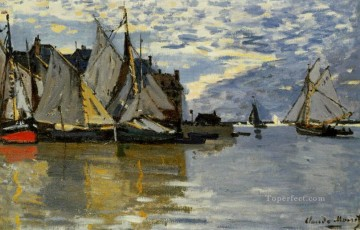Dockscape Painting - Sailboats Claude Monetcirca