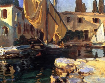 boat warship Painting - San Vigilio A Boat with Golden Sail boat John Singer Sargent