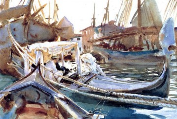 Dockscape Painting - Sketching on the Giudecca boat John Singer Sargent