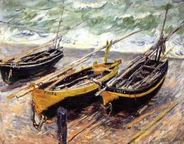 Dockscape Painting - Three Fishing Boats Claude Monet