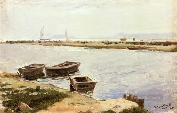 Dockscape Painting - Y Three Boats By A Shore Joaquin Sorolla