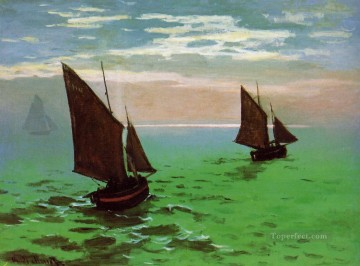 Dockscape Painting - Fishing Boats at Sea Claude Monet