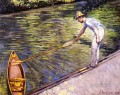 Boater Pulling on His Perissoire Impressionists Gustave Caillebotte