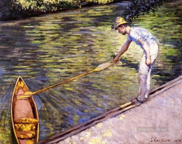 Dockscape Painting - Boater Pulling on His Perissoire Impressionists Gustave Caillebotte