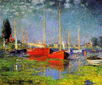 Dockscape Painting - Pleasure Boats at Argenteuil Claude Monet