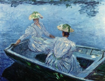 Dockscape Painting - The Blue Row Boat Claude Monet