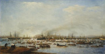 fleet Oil Painting - ENTRANCE OF RUSSIAN FLEET INTO TOULON HARBOUR Alexey Bogolyubov boats dockscape