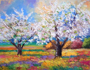 Apple trees in bloom garden Oil Paintings