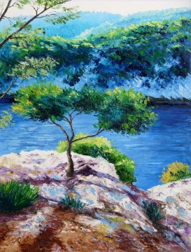 Cove at sunrise garden Oil Paintings